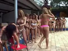Horny bondaged girl in shemale orgy