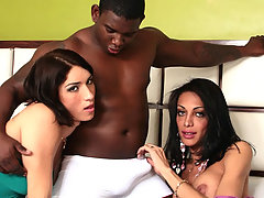 Pretty tranny cuties and a black stud in an interracial 3way